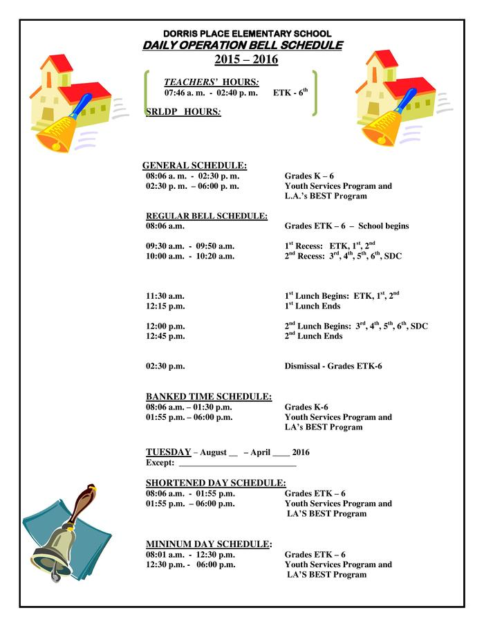 Dorris Place Elementary 2015-16 Bell Schedule
